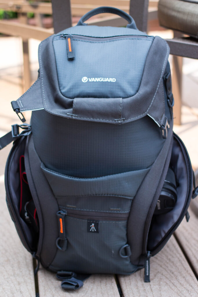 The backpack with pockets open.